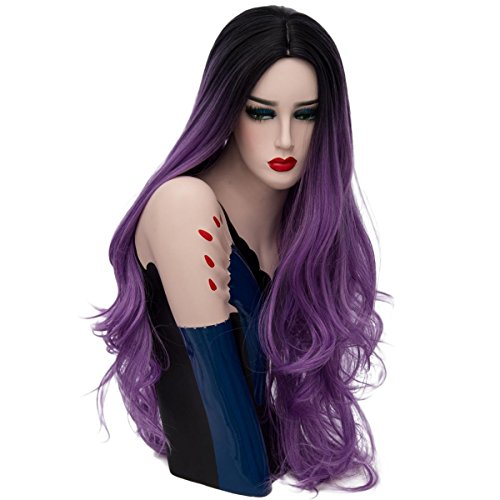 SHKH Frauen Dunkel Wurzeln Ombre Lose gewellte Haar Perücken Schöne lange Haar Perücken Halloween Fancy Dress Multi-Color optional , 02