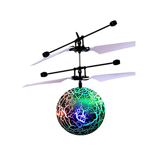 Mini Flying RC Ball, Rcool Crystal Hand Suspension Helicopter Aircraft Infrared Sensing Induction Flying Ball Drone Toy with Colorful LED Lighting Flashing for Kids (Green)