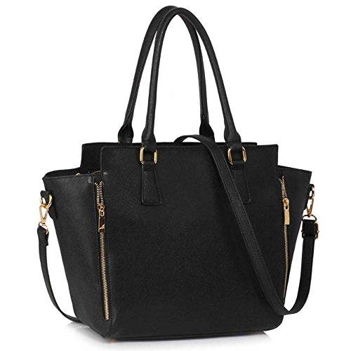 Meine Damen Umhängetaschen Frauen Große Designer Handtaschentoteschulterkunstleder Modische Taschen (Leder Satchel Pocket Front)
