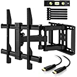 Perlegear TV Wall Bracket for 37to 70inch TV–TV Weighing up to 45kg–Helps Prevent Neck/Eye Strain. Includes 12Foot HDMI Cable and Concrete Anchor