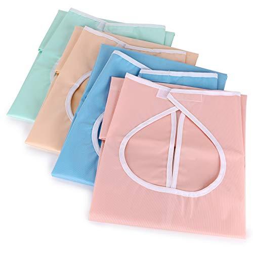 BTSKY 4 Stück wasserdichte wiederverwendbare Lätzchen für Erwachsene, waschbar, Essensschutz, Lätzchen mit Auffangbehälter