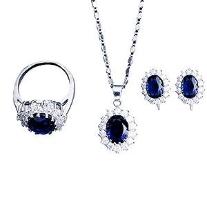 Chenang Zirkon Halskette,Ohrstecker Ring Damen Halskette Anzug Blume Länge Kette Modeschmuck Damen Classic Anhänger für Damen