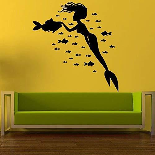 ljradj Meerjungfrau Viele Fische Entfernbare Wandaufkleber Für Kindergarten Kinderzimmer Mädchen Vinyl Tapete Aufkleber Wohnzimmer Süße Kunst Decor weiß 42X47 cm