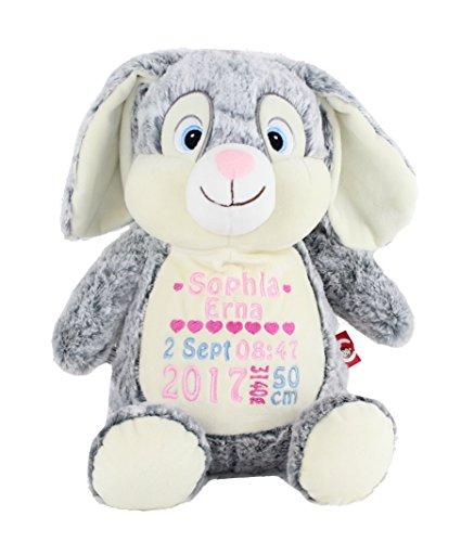 Cubbies Plüschtier Kuscheltier Hase grau Geschenk zur Geburt mit Namen und Geburtsdaten personalisiert 40cm