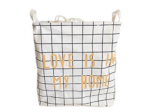 SFGHOUSE Baumwolle/Leinen Quadrat Wäsche Korb behindern mit Deckel faltbare Spielzeug Kleidung Organizer Lagerung bin (C) (Weißes Quadrat Bin)