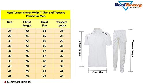 HeadTurners Milky White Cricket T-Shirt and Trousers Combo Uniform Dress for Mens, Boys and Kids(40 - Senior Large)
