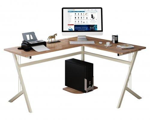 hjh OFFICE Eckschreibtisch/Schreibtisch/Computertisch Pollux nussbaum/hell-beige in L-Form mit robuster Tischplatte und stabilem Metall-Fußgestell, 673480 (Metall In L-form Schreibtisch)