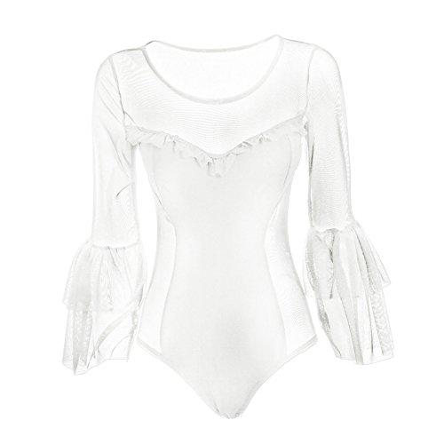 Toocool - Body donna velato trasparente sexy girocollo manica lunga ruches nuovo AS-2456 Bianco