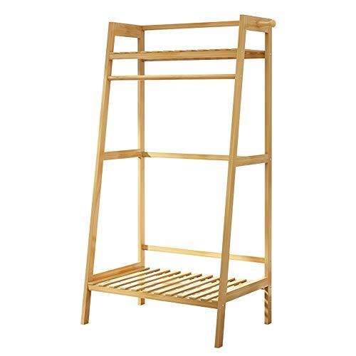 ZHIRONG Bambus Kleidung-Kleid-Mantel Hängend Heavy Duty-Rack Mit Oberem Regal Und Schuhbekleidung Speicherorganisator-Regale (Size : 50×40×140CM) -