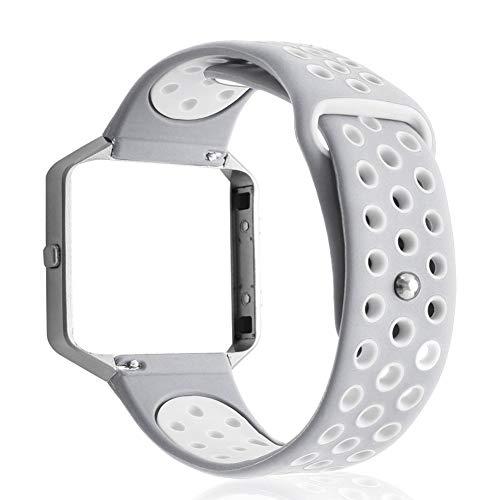 getherad Premium Silikon Ersatzarmband Mit Uhrrahmen, Zweifarbiges Rundes Loch, Atmungsaktives Armband Und Armband, Armband Und Rahmen Für Fitbit Blaze Smart Watch, Mehrere Farben