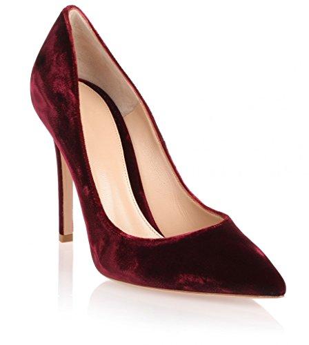 ELASHE - Femmes - Stiletto sexy - Velours souple - Talon aiguille 10CM - Bouts Pointus Femme Rouge