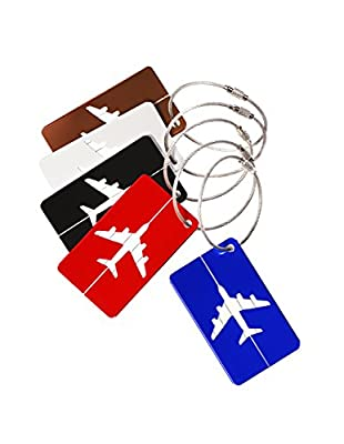 Mudder Aluminum Alloy Luggage Tags Aircraft Pattern with Stainless Steel Chain Strap, 5 Pack