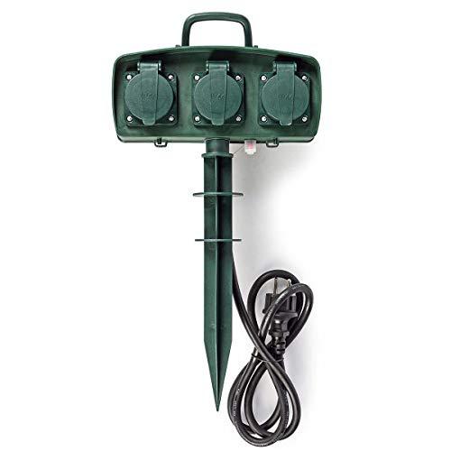TronicXL 3fach Steckdosenleiste Steckdose IP44 Garten Verlängerung 1,5m Strom Gartensteckdose Gartensteckdosenleiste Steckerleiste Mehrfachsteckdose Außen Aussen Außenbereich Outdoor 3er 3-fach