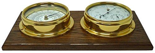 Barómetro de latón con higrómetro Integrado y termómetro de latón Pesado Lacado de latón 1/2...