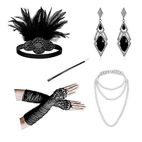Epinki Damen 1920er Jahre Zubehörset 5 Pcs Flapper Kostüm Feder Stirnband/Perlenkette/Diamant-Form Ohrringe/Hohl Spitze Handschuhe 20s Kostüme Inspiriert Accessoires Schwarz