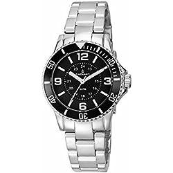 Radiant RA232202 - Reloj con correa de caucho para mujer, color negro/gris