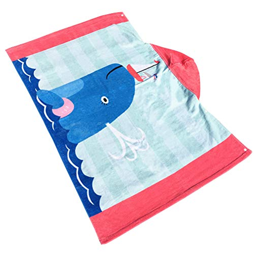 BESPORTBLE Kapuzentuch Strand Wrap Kinder Kinder große Poncho mit Kapuze Bad Schwimmen Handtuch schnell trocken Bademantel (Dolphin)
