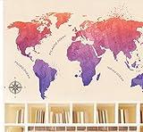 Gradiente de color Mapa del mundo Pegatinas de pared para la sala de estar Dormitorio de los niños Cuarto de niños Decoración para el hogar Papel tapiz Murales de arte calcomanías