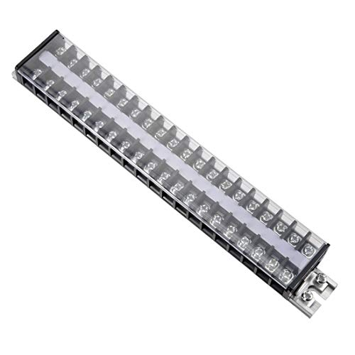 ZCHXD Barrier Terminal Strip Block 660V 20A Dual Rows 20 Position DIN Rail Base Covered Screw -