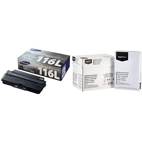 Samsung MLT-D116L Schwarz Original Toner (hohe Reichweite) & AmazonBasics - Druckerpapier, 5x500 Blatt