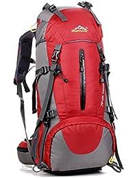 yihome al aire libre de gran capacidad montañismo bolsa 45+ 5L material de nylon con cubierta para la lluvia, rojo