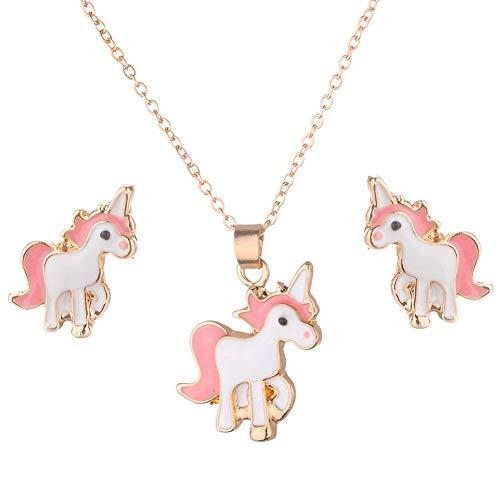 Beuya Conjuntos de Joyas de Boda para Mujer Fashion Collar con Colgante y Pendientes Mejor Regalo Fiesta para Novia y Mujer (Unicornio)