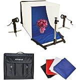 Kit de tente d'éclairage portable pour studio photo sur table de Polaroid, inclut 1 tente, 2 projecteurs, 1 tabouret, 1 sac de transport, 4 toiles de fond (noir, bleu, blanc, rouge) pour l'Nikon 1 J1, V1, D40, D40x, D50, D60, D70, D80, D90, D100, D200, D300, D3, D3S, D700, D3000, D5000, D3100, D3200, D7000, D800, D800E, D4, D5100 reflex numériques