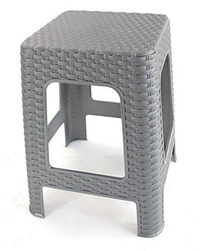 Hoffmanns Sitzhocker 28 x 28 cm Sitzfläche im edler Rattanoptik, 45 cm hoch (Standfläche 35 x 35 cm) ? (Grau)