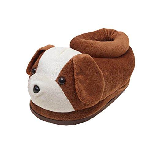 Youjia morbido animali ciabatte di peluche invernali pantofole da camera calde comode scarpe per adulto, cane taglia: 34-4