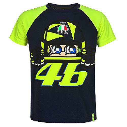 VR46 Valentino Rossi Kids SOLELUNA Helm-T-Shirt für Kinder von 1 bis 14 Jahren, blau, Kids (Age 12-14 Years) - Helm Kinder T-shirt
