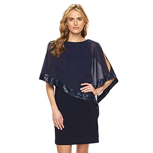 Damen Kleider Kolylong Frauen Elegant Pailletten Chiffon Kleid Knielang Retro 3/4 Arm Business Kleid...