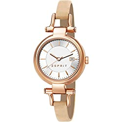 Esprit Zoe Women's Quartz Watch with Silver Dial Analogue Display and Beige Leather Strap ES107632013