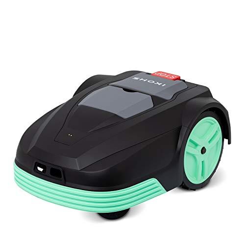 IKOHS CUTBOT - Robot Cortacésped Automático con Batería, Superficie de Césped hasta 500 m², Pendiente Máxima hasta 30%, 4 Cuchillas Pivotantes para un Corte de Césped Preciso, Silencioso (Negro)