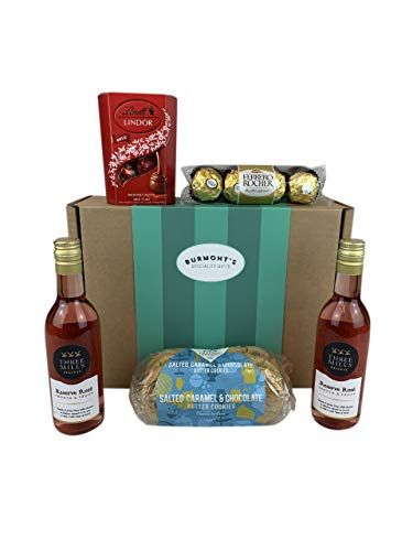 Rosé Wine & Chocolate Hamper - 2 Small Rose Wines, Lindt Lindor Chocolates, Ferrero Rocher & Premium Chocolate Chip Biscuits - Hamper Exclusive To Burmont's