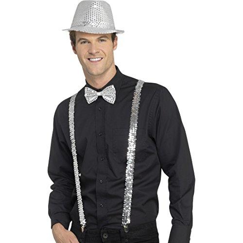 Amakando Glitzer Hosenträger - Silber - Hosenhalter Showstar Stripper Kostümzubehör Suspenders Bühnenoutfit Party Accessoire Silvester Paillettenhosenträger