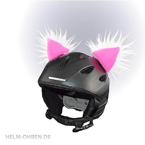Skihelm Ohren - Helm -Ohren für den Skihelm, Snowboardhelm Fellohren Skihase Weiß - Pink - Helmdeko