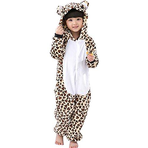 Für Kinder Leopard Kostüm (UDreamTime Kinder Anime Sleepsuit Tier Pyjamas Cosplay Kostüme Strampler Leopard)