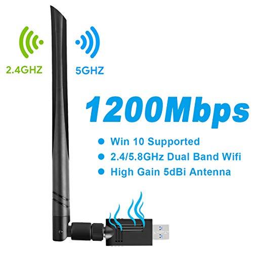 Gaoni Adaptador WiFi USB AC1200 Mbps Doble Banda 2.4GHz/5GHz,USB