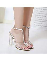 Amazon.es  Sandalias Plateadas - Zapatos para mujer   Zapatos ... 1ae91df5739