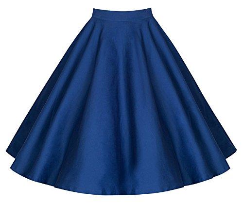 afairy Damen 50er Jahre Art Rock Vintage Rockabilly Swing Faltenrock Knielang Mode Skater Röcke (34, Blau) (50er Jahre Mode-mädchen)