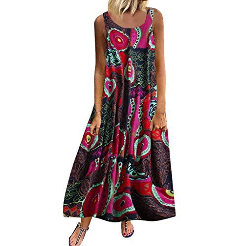 Malloom-Bekleidung Frauen Plus Größe beiläufige lose ärmellose Boho Retro Leinen Druck langes Maxi Kleid Loses, kurzärmliges Retro-Kleid aus Baumwolle und Leinen in Übergröße mit Rundhalsausschnitt -