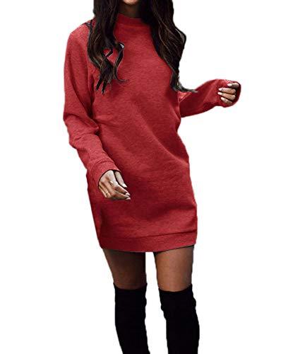 Woweal Frühling Herbst Damen Lang Pulli Kleider Oberteile Casual Langarm Sweatshirt Tuniken Pullover Slim Sweater Kleider Blusenkleid Minikleid...