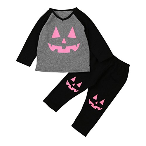 Hirolan Urlaub Beliebt Baby Mädchen Kürbis Drucken Patch T-Shirt Kleinkind Infant Tops + Hosen Halloween Outfits Set Raglan Hülse Grau Kleidung Anzüge (80cm, (Sailor Kostüme Für Halloween)