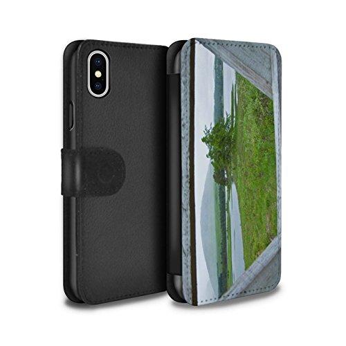 Stuff4 Coque/Etui/Housse Cuir PU Case/Cover pour Apple iPhone X/10 / Montagnes/Loch Design / Campagne Écossais Collection Clôture/Lac