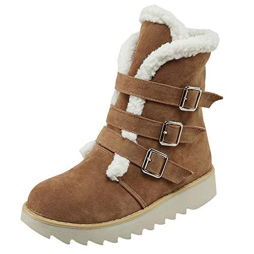 JURTEE Damen Winter Wildleder Runde Spitze Schnalle Flache Schuhe Halten Warme Kurze Schlauch Warm Gefüttert Schneeschuhe Schlupfstiefel