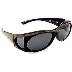 FIGURETTA Sonnen-Überbrille | Überzieh-Sonnenbrille | UV 400 polarisiert für Brillenträger | Polbrille | Bekannt aus dem TV