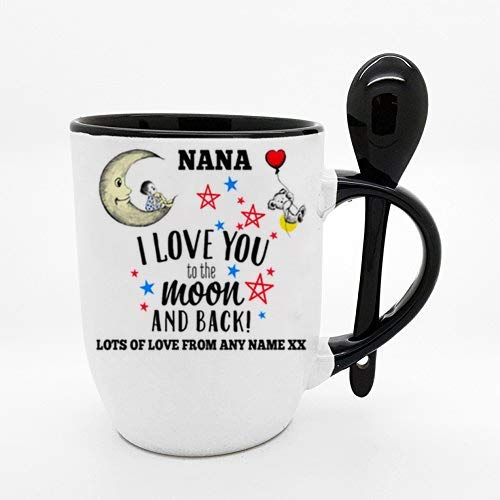 Personalised Fathers Day Themed Nana I Love You to The Moon & Back 11oz Black Inside Coloured Mug with Spoon.