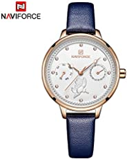 Naviforce Women's White Dial Genuine Leather Chronograph Watch - NF5003-R