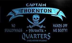 pw2263-b Thornton Captain Private Quarters Skull Bar Beer Neon Light Sign