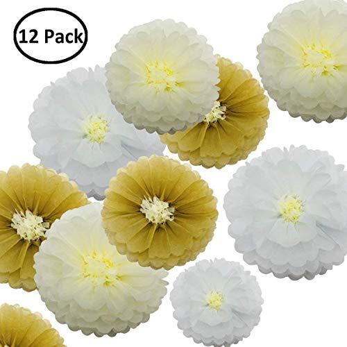 12 PCS Seidenpapier Pom Poms - Papierblume - Party Dekoration für Geburtstagsfeier - Baby-Dusche - Brautdusche - Hochzeit - Bachelorette - Khaki Elfenbeinweiß - 12